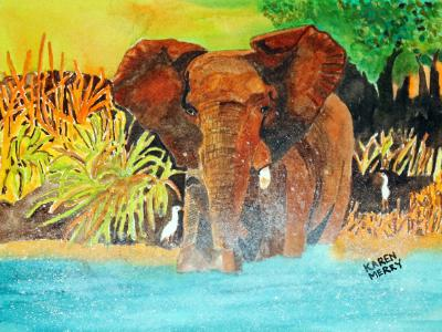 African Elephant in the Water